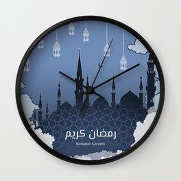 Ramadan Kareem in Arabic Word with Silhouette of Prophet Muhammad's Mosque, Clouds and Lantern Wall Clock