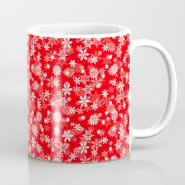 Festive Red and White Christmas Holiday Snowflakes Coffee Mug