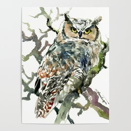 Great Horned Owl in Woods Poster