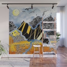 flying over silver and golden mountains Wall Mural