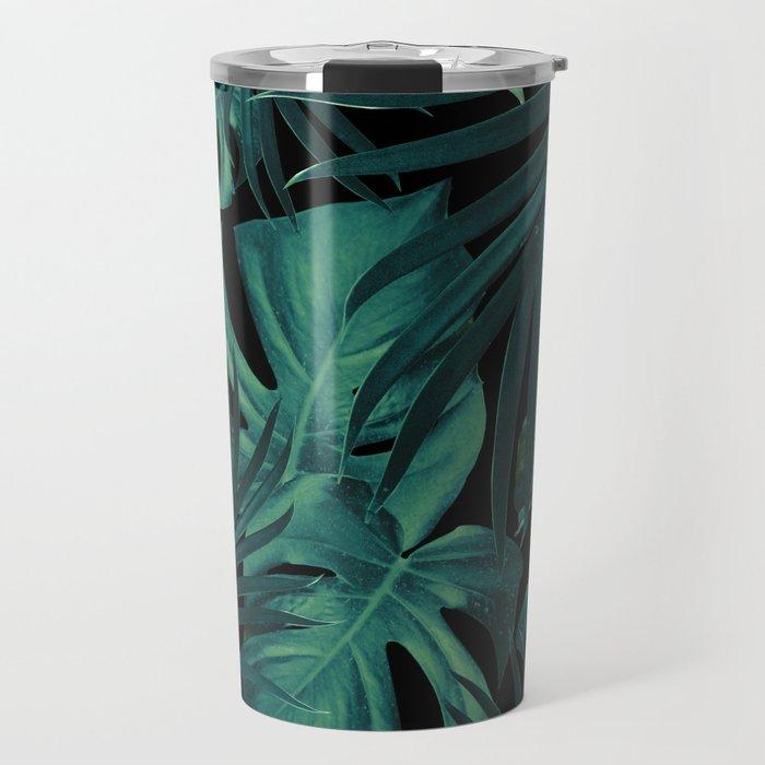 Tropical Jungle Night Leaves Pattern #1 #tropical #decor #art #society6 Travel Mug
