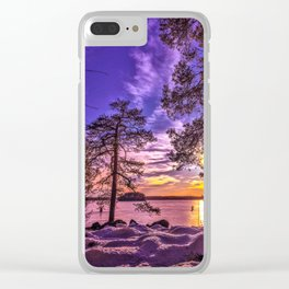 Forest path view Clear iPhone Case