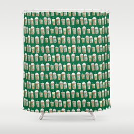 Coffee Cup Line Up in Green Shower Curtain