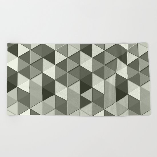 Cool Grayscale triangles geometric pattern Beach Towel