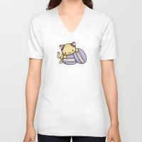macaron V-neck T-shirts featuring Macaron Kitty by Fushigi na Ringo