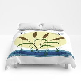 Cattails and Dragonflies Comforters