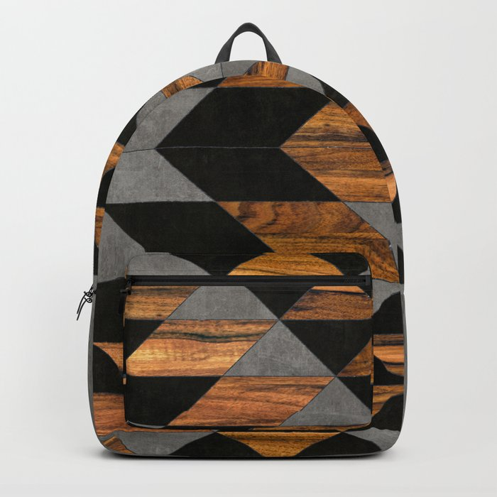 Urban Tribal Pattern No.10 - Aztec - Concrete and Wood Rucksack