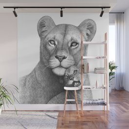 Lioness with a baby Wall Mural