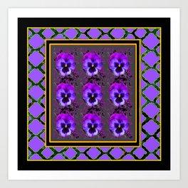 GARDEN OF PURPLE PANSY FLOWERS BLACK & TEAL PATTERNS Art Print