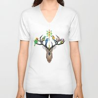 yetiland V-neck T-shirts featuring deer birds by Manoou