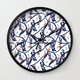 Blue Leaves and Clementine Pattern Wall Clock