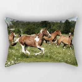 Spring Horse Run Rectangular Pillow