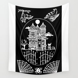 Ominous Victorian House Invert Wall Tapestry