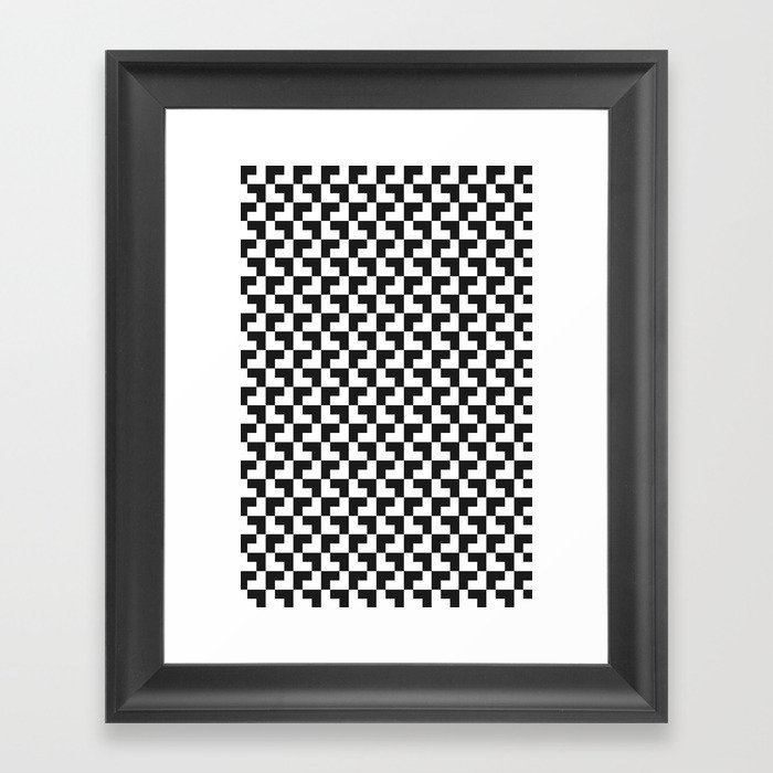 Black and White Tessellation Pattern - Graphic Design Framed Art Print
