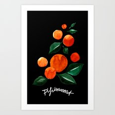 Orange Tree Black Art Print