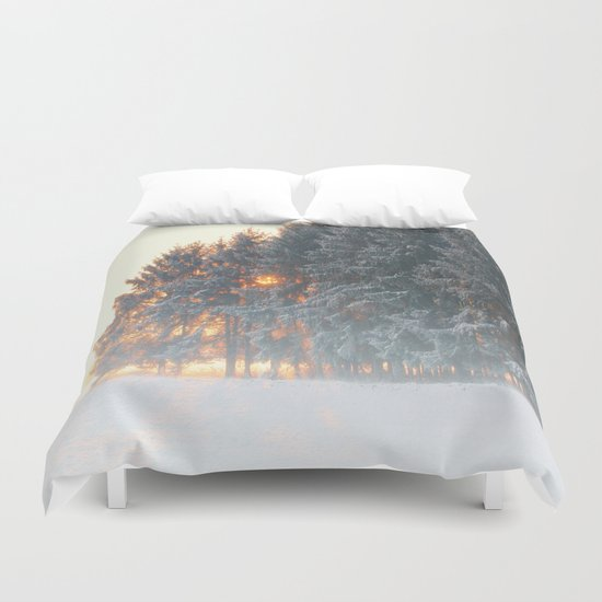 Sunrise in winter cloud forest Duvet Cover