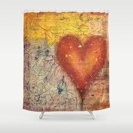 A Frayed Heart Shower Curtain