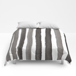 Grey Stripe Abstract Painting Comforters