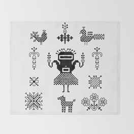folk embroidery, Collection of flowers, birds, peacocks, horse, man, geometric ornaments, symbols e Throw Blanket