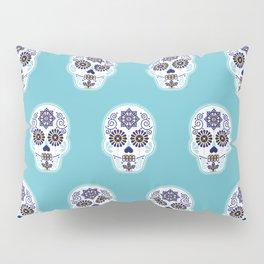 Día de Muertos • Mexican Sugar Skull – Baby Blue Palette Pillow Sham