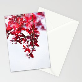 Red autumnal leaves watercolor painting #1 Stationery Cards