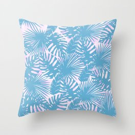 Modern teal pink watercolor tropical floral leaves Throw Pillow
