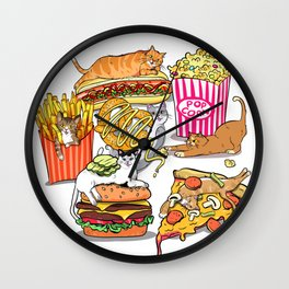 Cats & Junk Food Wall Clock