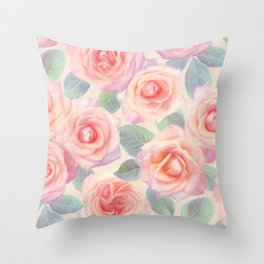 Opal Pink and Peach Painted Roses Throw Pillow