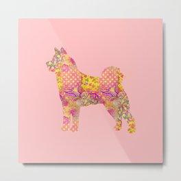 Akita Inu Dog Colorful Pink Yellow Pastel Pretty Floral Pattern Metal Print