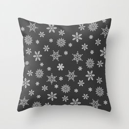 Snow Flurries-Solid Charcoal Throw Pillow