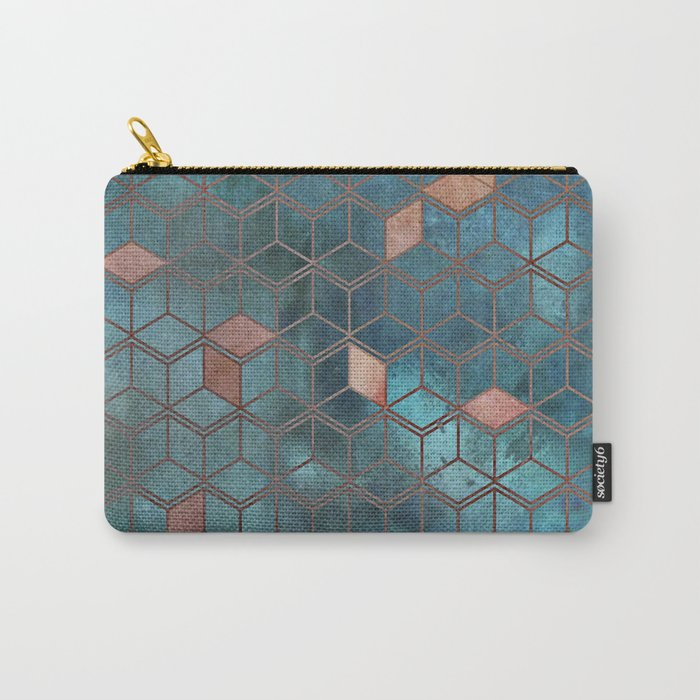 Pink Quartz And Teal Blue Cubes Geometry Pattern Carry-All Pouch