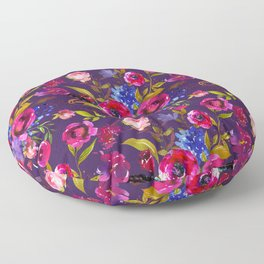 Bright Pink, Purple and Lavender Floral Arrangement with Feathers on Purple Floor Pillow