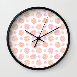 Blush pink coral modern summer cactus floral Wall Clock