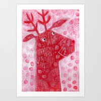 reindeer Art Prints featuring Reindeer by Nic Squirrell