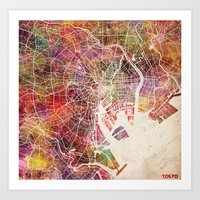 tokyo Art Prints featuring Tokyo by MapMapMaps.Watercolors