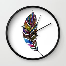 Colorful Watercolor Hand Drawn Tangle Feather Wall Clock