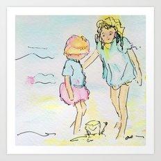 Sister Sandcastles Art Print