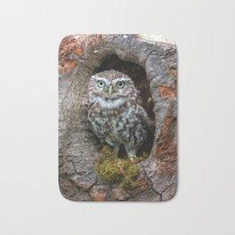 Owl in a tree hole Bath Mat