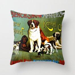 New England Dog Show 1890 Throw Pillow