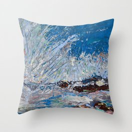 Ocean Waves - palette knife abstract painting of sea landscape Throw Pillow