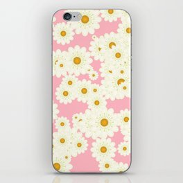 Daisies on pink iPhone Skin