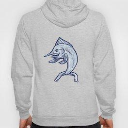 Blue Marlin Fish Isolated Cartoon Hoody