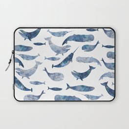 Whales, whale art, whale painting, whale wall art, watercolour whales, ocean Laptop Sleeve