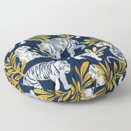 Nouveau white tigers // navy blue background yellow leaves silver lines white animals Floor Pillow
