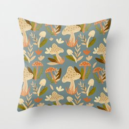 Mushroom Forest in Retro  Throw Pillow