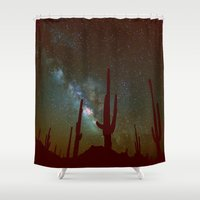 milky way Shower Curtains featuring milky way by 2sweet4words Designs