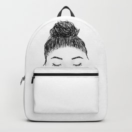 messy girl bun Backpack