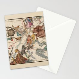 Pictorial Celestial Map with Constellations Gemini, Orion, Taurus, Cancer Stationery Cards