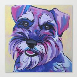 Schnauzer Pop Art Pet Portrait Canvas Print