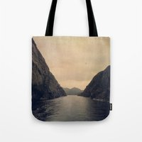 mountains Tote Bags featuring mountains by Ingrid Beddoes